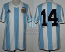 Argentina - 1982 - Home - Le Coq Sportif - 2nd Round Spain WC vs Italy - J. Olguin