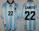 Argentina - 1998 - Home - Adidas - QF France WC vs Holland - J. Zanetti