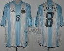 Argentina - 2002 - Home - Adidas - Korea/Japan WC vs England - J. Zanetti