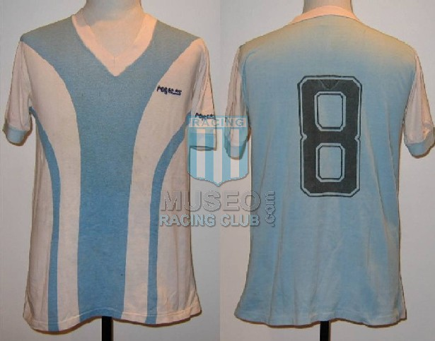 MATCH WORN!!!!!!!!!!!!!!!!!!!!! Rarísima camiseta alternativa del Racing Club marca ROGER*S usada por Julio Jorge
