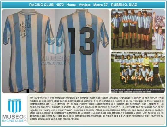 MATCH WORN!!! Espectacular camiseta de Racing usada por Rubén Osvaldo