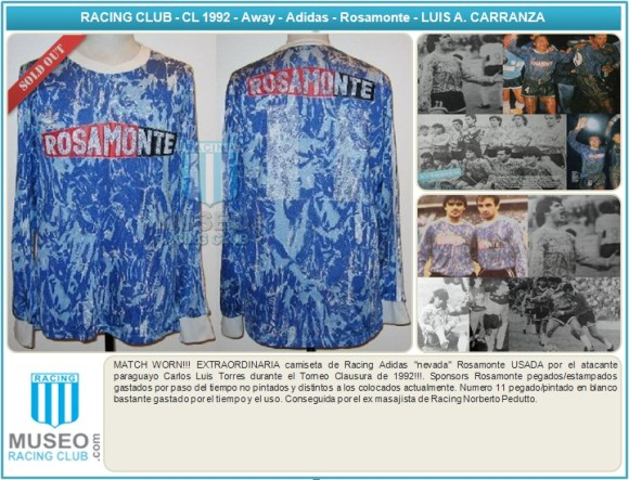 MATCH WORN!!! EXTRAORDINARIA camiseta de Racing Adidas