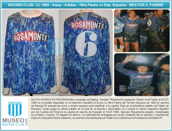 MATCH WORN!!! EXTRAORDINARIA camiseta de Racing