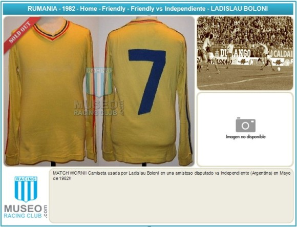 MATCH WORN!! Camiseta usada por Ladislau Boloni en una amistoso disputado vs Independiente (Argentina) en Mayo de 1982!!