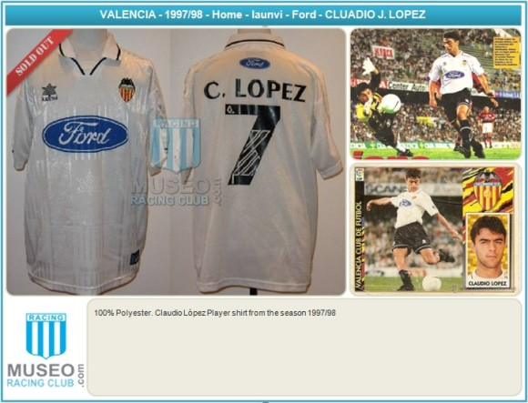 100% Polyester. Claudio López Player shirt from the season 1997/98